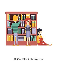 Library Or Bookstore With People Choosing And Reading Books...