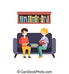 Library Or Bookstore With People Reading Books On The Sofa....