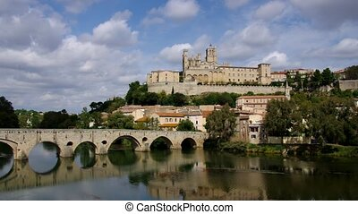 Cathedral Saint Nazaire and the River Orb in Beziers France