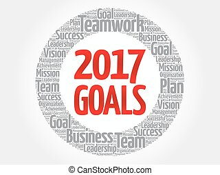 2017 Goals word cloud collage, business concept