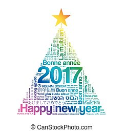2017 Happy New Year in different languages, celebration word...