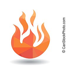 Red Fire icon isolated on white background