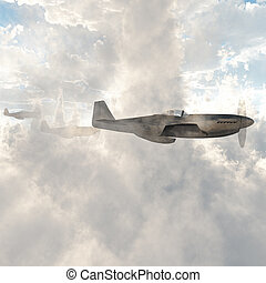 Warplanes in the clouds