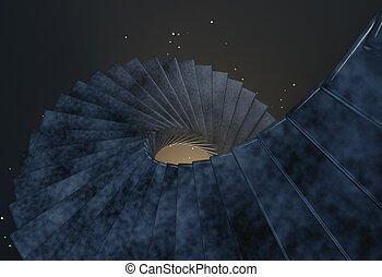Spiral stair in space to the light blue 3d illustration -...