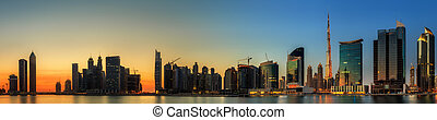 Business bay of Dubai, UAE - Panoramic view of Dubai...