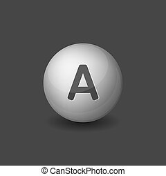 Vitamin A Silver Glossy Sphere on Dark Background. Vector