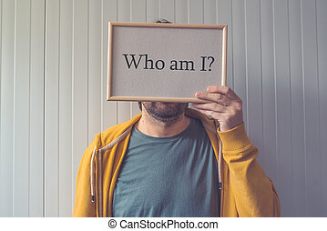 Who am I, self-knowledge concept with question covering...