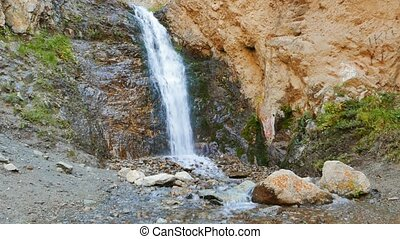 The first waterfall in the valley of the Issyk-Ata. Recorded...