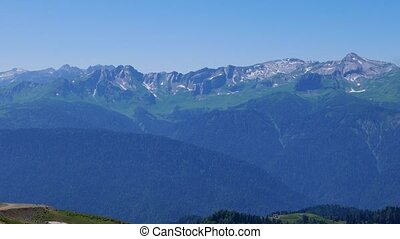 Clear sky in the mountains. Rosa Khutor. Sochi, Russia....