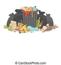 Pile of Decaying Garbage Left Lying Around. Vector...