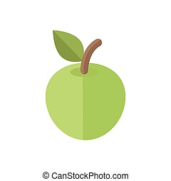 green apple illustration isolated on white