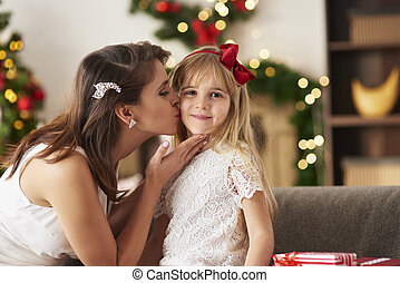 Mother kissing daughter on cheek