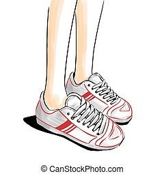 Jogging/running shoes, sneakers - Illustration with legs in...