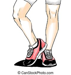 Jogging/running shoes, sneakers - Illustration with...