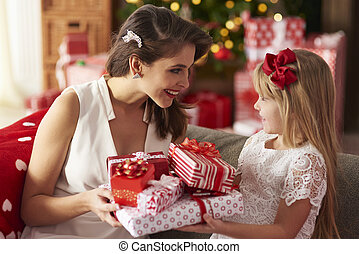 Face to face during exchanging presents