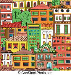 Doodle town seamless pattern