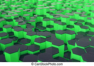 Estratto, superficie, interpretazione, esagoni, verde, Futuristico,  3D