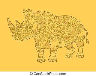 Rhinoceros color drawing raster