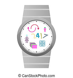 Smart watch with flat icons. isolated on white