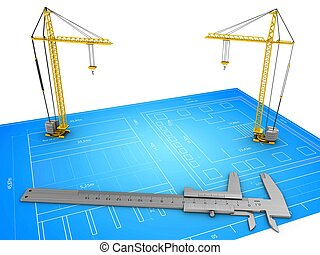 3d cranes - 3d illustration of cranes over blueprint...