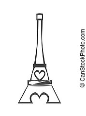 Paris Eiffel Tower Icon with pink heart