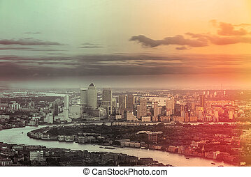 London City business district Canary Wharf from above -...
