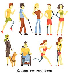Young People With Permanent And Temporary Disabilities Overcoming The Injury Living Full Live And Doing Sports Collection Of Vector Illustrations.