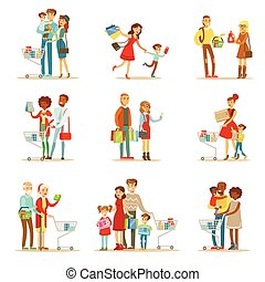 Families Shopping In Department Store And Shopping Mall Set...