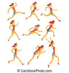 Female Sportswoman Running The Track With Obstacles And...