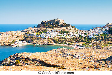 Acropolis in the ancient greek town Lindos