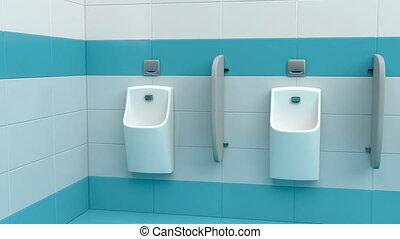 Row of urinals at public men's restroom