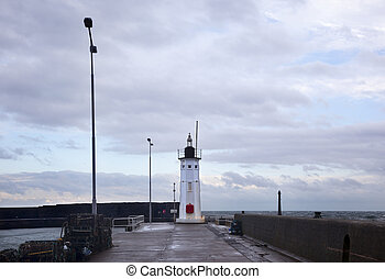 Lighthouse in Anstruther Harbour. Scotland