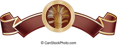 Brown rich elegant banner with gold ripe wheat sheaf. Vector...