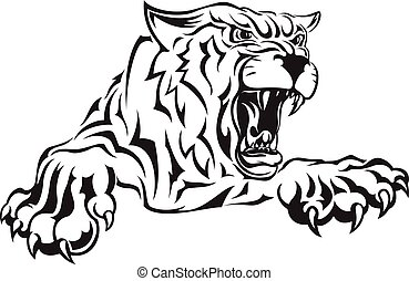 Furious scary tiger with an open mouth. - Vector black and...