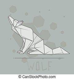 Vector illustration paper origami of wolf. - Vector simple...