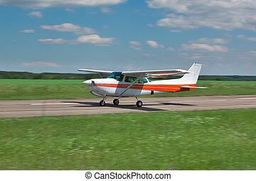 Small plane takeoff - Small light private plane is taking...