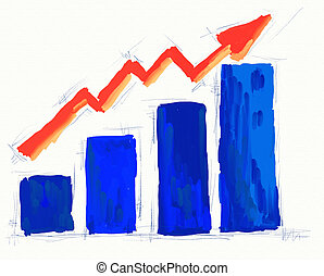 business chart - hand painted business chart on white...