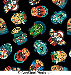Ethnic colorful mask pattern on black background. Vector...