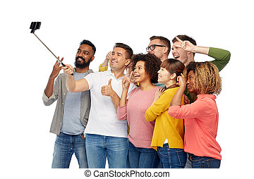 group of people taking selfie by smartphone - diversity,...