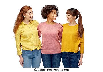 internacional, sonriente, feliz, grupo, mujeres