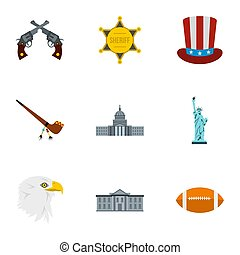 Tourism in USA icons set, flat style - Tourism in USA icons...