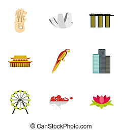 Country Singapore icons set, flat style - Country Singapore...