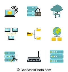 Data storage icons set, flat style