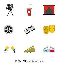 Cinematography icons set, flat style - Cinematography icons...