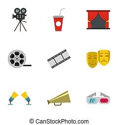 Cinematography icons set, flat style - Cinematography icons...