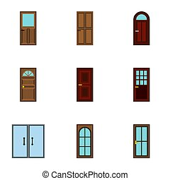 Security doors icons set, flat style - Security doors icons...