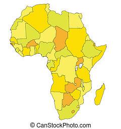 mapa, colores, tibio,  áfrica
