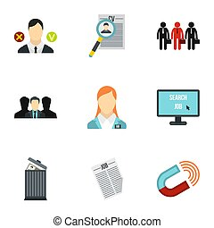 Employee icons set, flat style - Employee icons set. Flat...