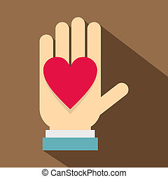 Hand with heart icon, flat style - Hand with heart icon....