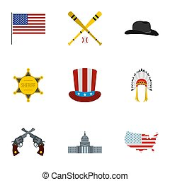 Attractions of USA icons set, flat style - Attractions of...